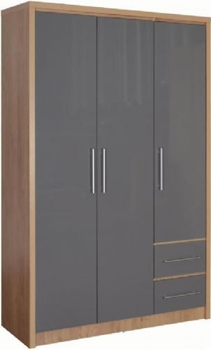 Seville 3 Door 2 Drawer Wardrobe GREY